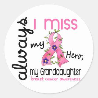 Breast Cancer Miss My Granddaughter 3 Round Sticker