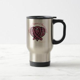 Breast Cancer Mosaic Heart Ribbon Stainless Steel Travel Mug