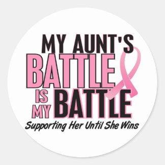 Breast Cancer My BATTLE TOO 1 Aunt Round Sticker