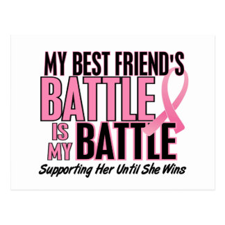 Breast Cancer My BATTLE TOO 1 Best Friend Postcard