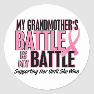 Breast Cancer My BATTLE TOO 1 Grandmother Round Stickers