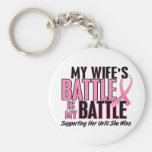Breast Cancer My BATTLE TOO 1 Wife Keychains