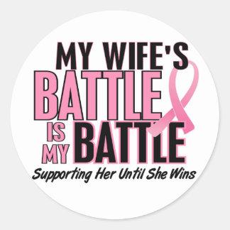 Breast Cancer My BATTLE TOO 1 Wife Round Sticker