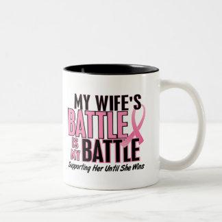 Breast Cancer My BATTLE TOO 1 Wife Two-Tone Mug
