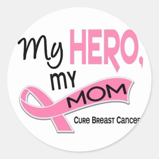 Breast Cancer MY HERO, MY MOM 42 Round Sticker