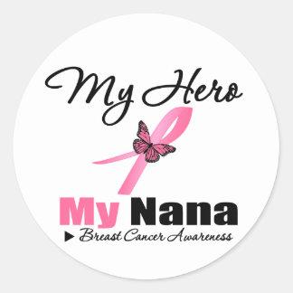 Breast Cancer My Hero My Nana Round Stickers