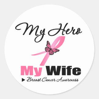 Breast Cancer My Hero My Wife Round Stickers