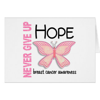 Breast Cancer Never Give Up Hope Butterfly 4.1 Greeting Card