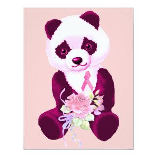 Breast Cancer Panda Bear 11 Cm X 14 Cm Invitation Card