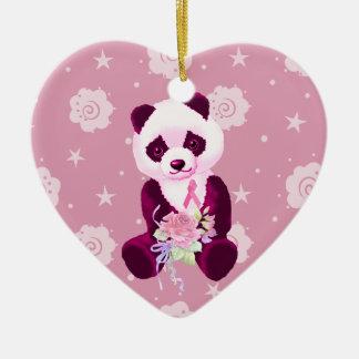 Breast Cancer Panda Bear Ceramic Heart Decoration