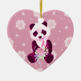 Breast Cancer Panda Bear Christmas Ornament