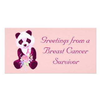 Breast Cancer Panda Bear Custom Photo Card