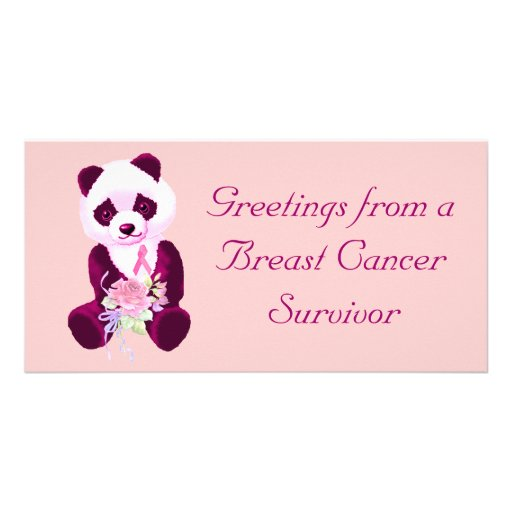 Breast Cancer Panda Bear Custom Photo Card