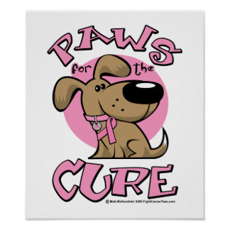 Breast Cancer Paws for the Cure Dog Poster