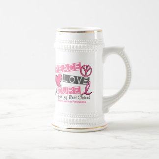 Breast Cancer PEACE LOVE A CURE 1 Best Friend Mugs