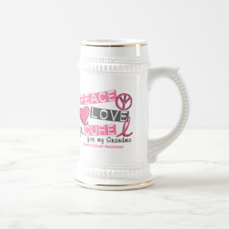 Breast Cancer PEACE, LOVE, A CURE 1 (Grandma) Coffee Mugs