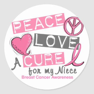 Breast Cancer PEACE, LOVE, A CURE 1 (Niece) Round Stickers