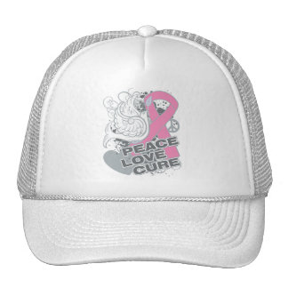 Breast Cancer Peace Love Cure Trucker Hat