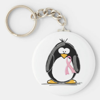 Breast Cancer Penguin Key Ring