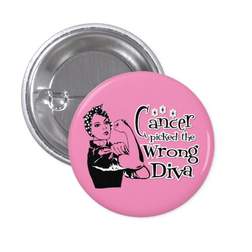 Breast Cancer Picked The Wrong Diva (Light Pink) Pinback Button