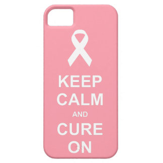 Breast Cancer Pink Keep Calm and Cure On Barely There iPhone 5 Case