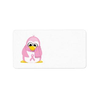 Breast Cancer Pink Penguin Label