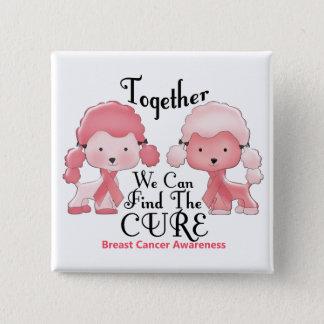 Breast Cancer Pink Poodles Together 2 15 Cm Square Badge
