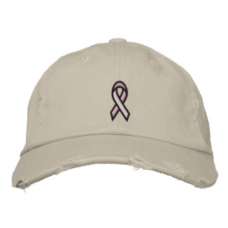 Breast Cancer Pink Ribbon Embroidered Hat
