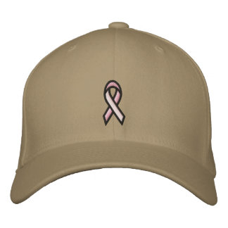 Breast Cancer Pink Ribbon Embroidered Hats