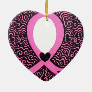 Breast Cancer Pink Ribbon Frame add image/text Ceramic Heart Decoration