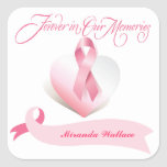 Breast Cancer Pink Ribbon Memorial Stickers