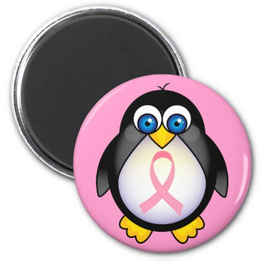 Breast Cancer Pink Ribbon Penguin Gift Refrigerator Magnet
