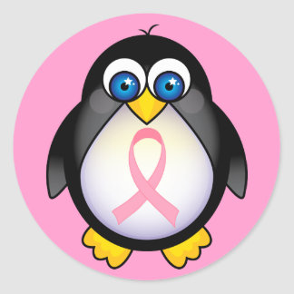 Breast Cancer Pink Ribbon Penguin Gift Round Sticker
