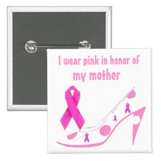 Breast Cancer Pink Ribbon Polka Dot Button