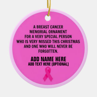 Breast Cancer Poem Memorial Christmas Ornament