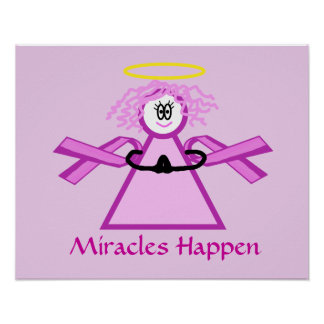 Breast Cancer Praying Pink Ribbon Angel Poster
