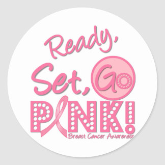 Breast Cancer Ready Set Go Pink Round Sticker
