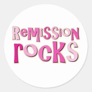 Breast Cancer Remission Rocks Round Sticker
