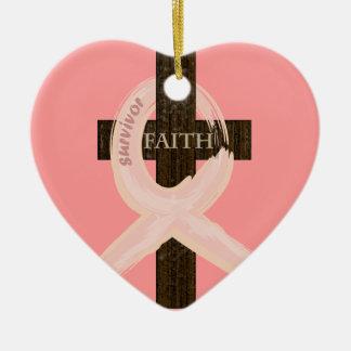 Breast Cancer Ribbon Celbrates Faith & Remission Ceramic Heart Decoration
