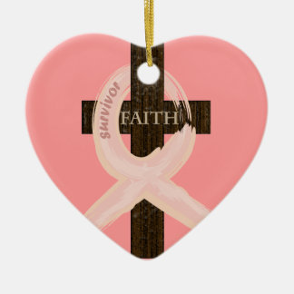 Breast Cancer Ribbon Celbrates Faith & Remission Double-Sided Heart Ceramic Christmas Ornament