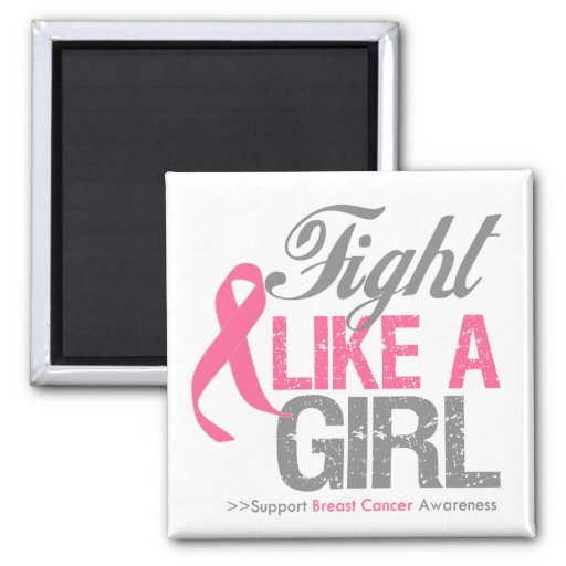 Breast Cancer Ribbon - Fight Like a GIRL Square Magnet