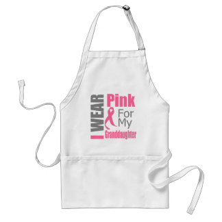 Breast Cancer Ribbon I Wear Pink Granddaughter Adult Apron
