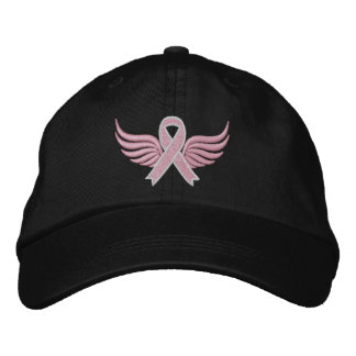Breast Cancer Ribbon Wings Embroidered Hats