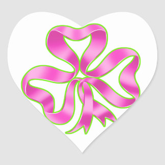 Breast Cancer Shamrock Ribbon Heart Sticker