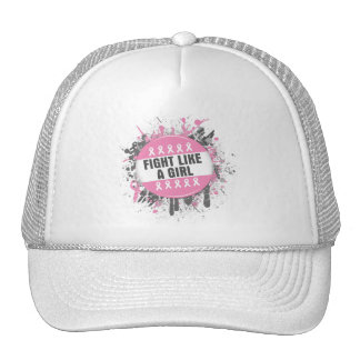 Breast Cancer Splatter - Fight Like a Girl Mesh Hats