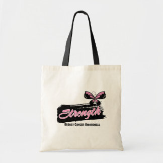 Breast Cancer Strength Butterfly Tote Bag