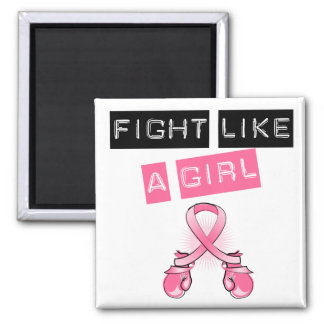 Breast Cancer Stylish Fight Like A Girl Label Square Magnet