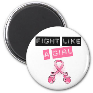 Breast Cancer Stylish Fight Like A Girl Label 6 Cm Round Magnet