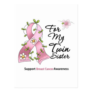 Breast Cancer Support Twin Sister Postcard