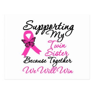 Breast Cancer Support Twin Sister Postcards